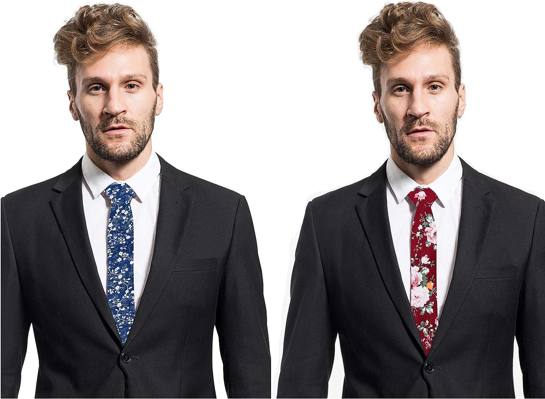 Elzama Cotton Floral Print Skinny Tie Slim Necktie for Special Event Party Wedding