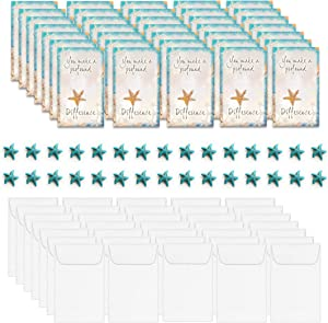 Smiling Wisdom - The Starfish Story Mini Keepsake Appreciation Cards With Envelopes and Turquoise Starfish Bead - Bulk 30 Full Color Folded Greeting Card Gifts - Notecards - Blue