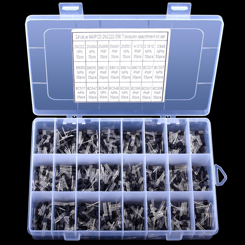 Longruner Kit de Transistor 24values 2N2222-S9018//BC327-BC558 Kit dassortiment de Transistors /à Usage G/én/éral NPN PNP-Paquet de 840 LP11
