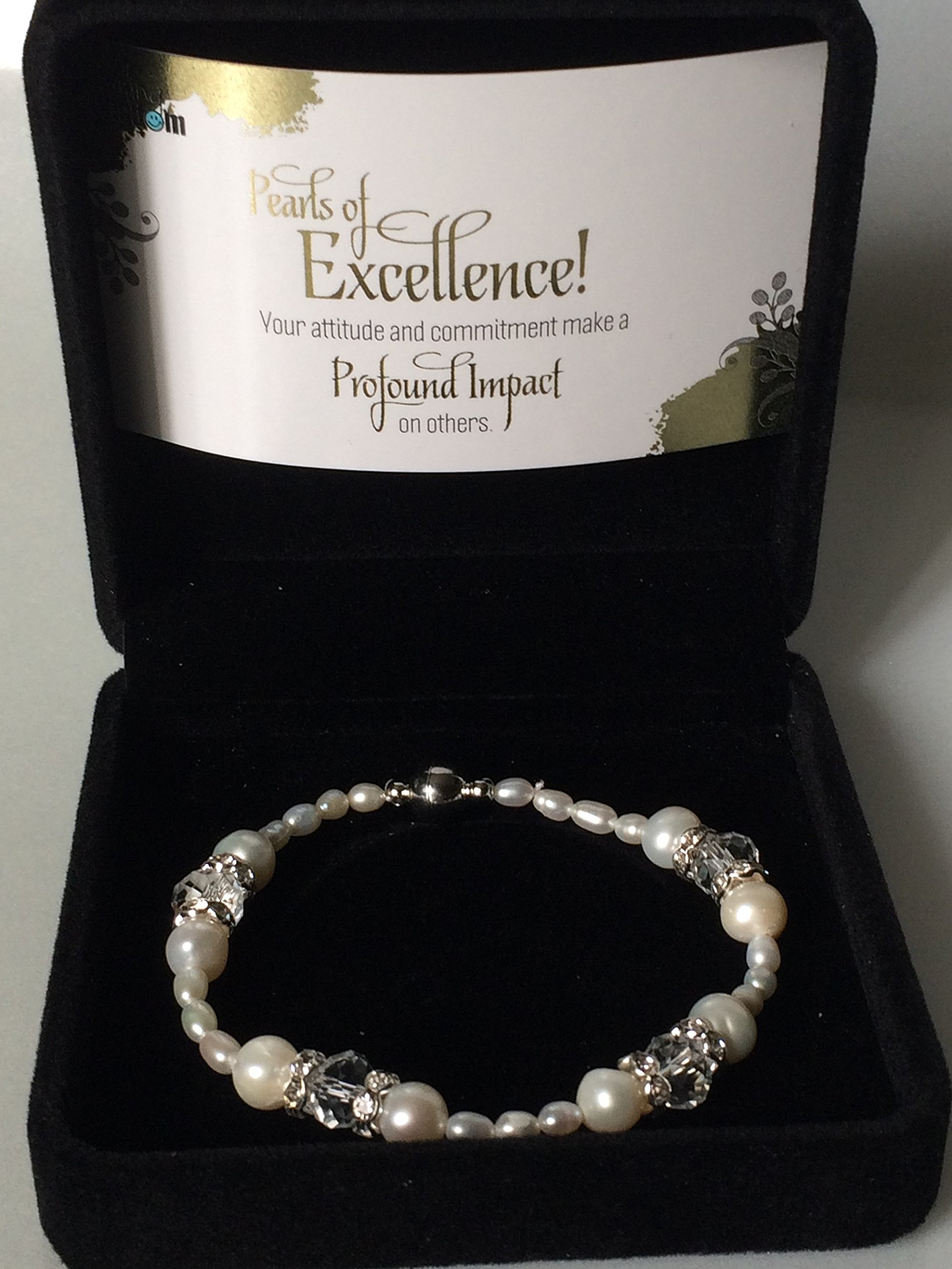 Smiling Wisdom - Pearls of Excellence Recognition Award - Freshwater Cultured Pearl Bracelet - Her, Woman, Employees, Team Members, Students, Girls, Women, Rock Stars - Natural Pearl Color by Smiling Wisdom