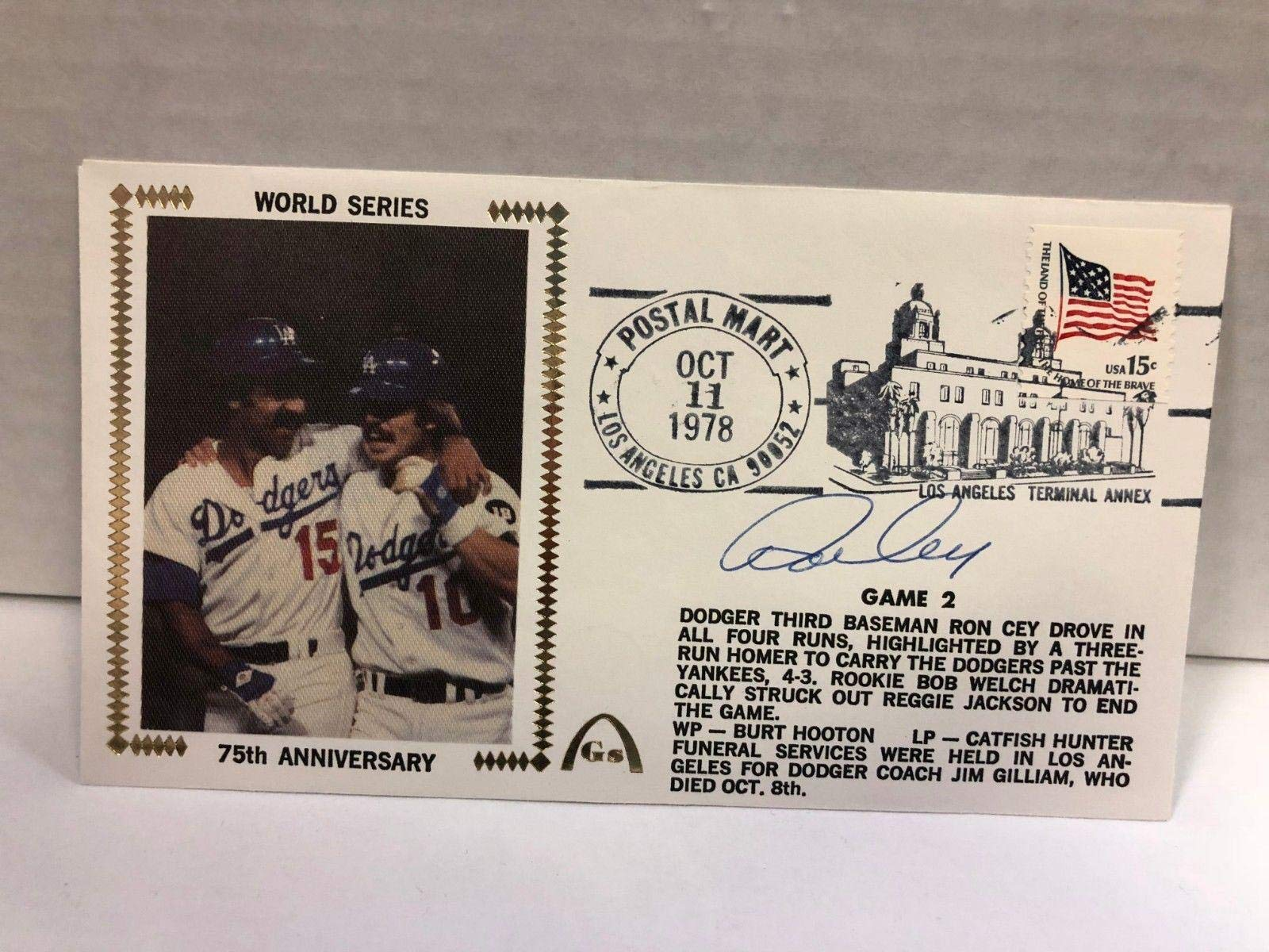 Ron Cey Autographed Signed Original Silk Cachet First Day Issue COA JSA Certified MLB Cut Signatures