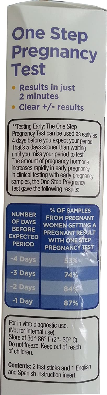Amazon com: One Step Pregnancy Test, 2ct, By Equate Compare