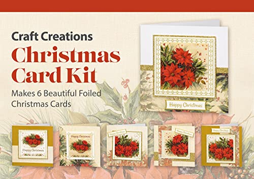 Craft Creations Foiled Die Cut Topper Christmas Card Kit   PKCDT556G  Poinsettias With Gold Foil