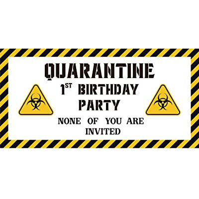 CY2SIDE 1st Birthday Quarantine Sign Banner, 48''x24'' Satin B-Day Hanging Banner with Rope, Caution Quarantine Area Sign Flag for Wall Decor, First B-Day Party Decoration for Baby Boys and Girls: Toys & Games