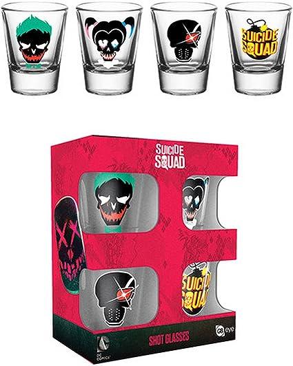Suicide Squad Official - Vasos de chupito (paquete de 4) (Talla Única) (Transparente): Amazon.es: Ropa y accesorios