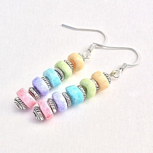Rainbow Fringed Coin Dangle Earrings