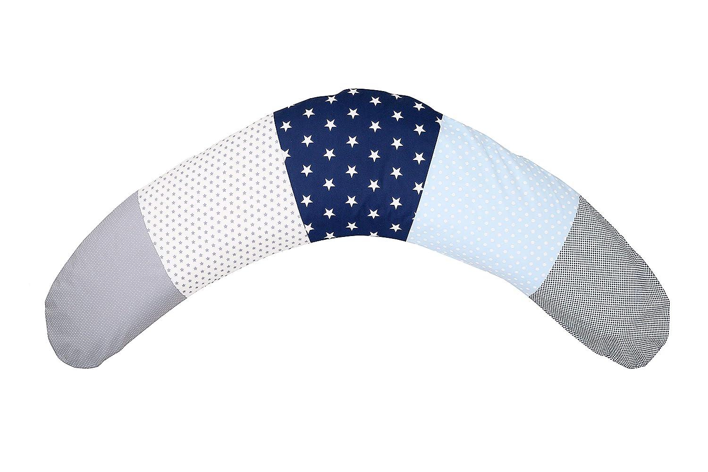 ULLENBOOM /® Stillkissen Blau Hellblau Grau 190x38 cm, Inlett: leise EPS MIKROPERLEN, Lagerungskissen, Schwangerschaftskissen, Seitenschl/äferkissen