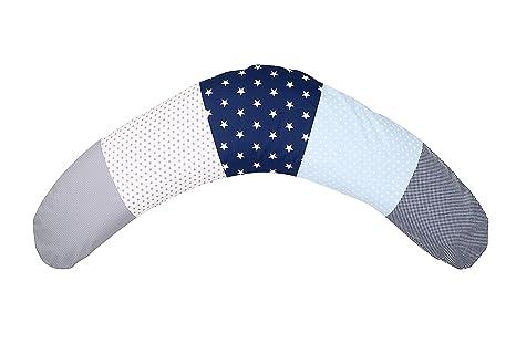 Cojín de lactancia de ULLENBOOM ® azul claro azul gris (190 x 38 cm; relleno: microperlas silenciosas de EPS; sirve también de cojín de apoyo, ...