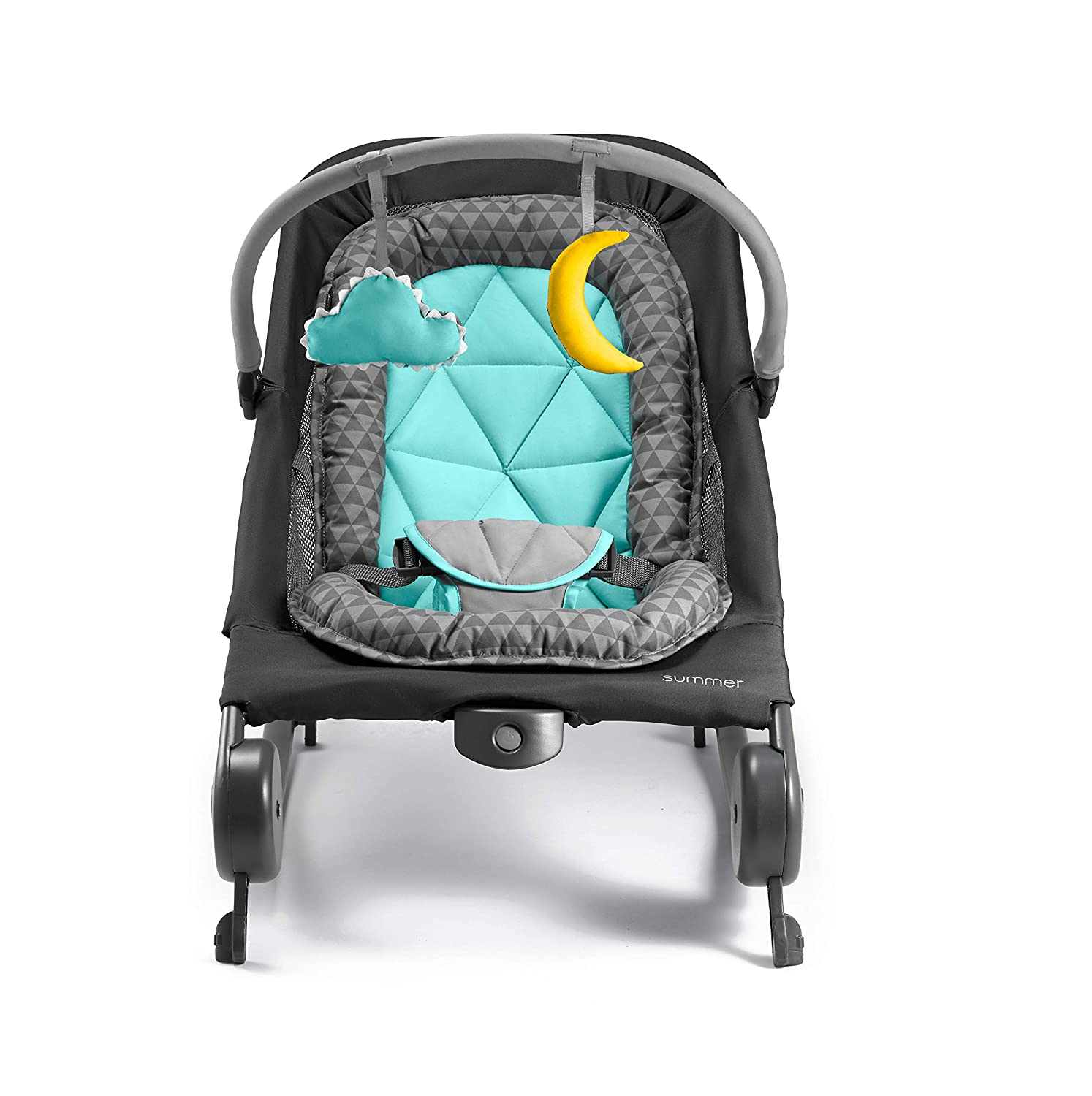 Easy to Clean Summer 2-in-1 Bouncer /& Rocker Duo Machine Washable Fabrics Removable Toys /& Compact Fold for Storage or Travel Baby Bouncer /& Baby Rocker with Soothing Vibrations Gray//Teal