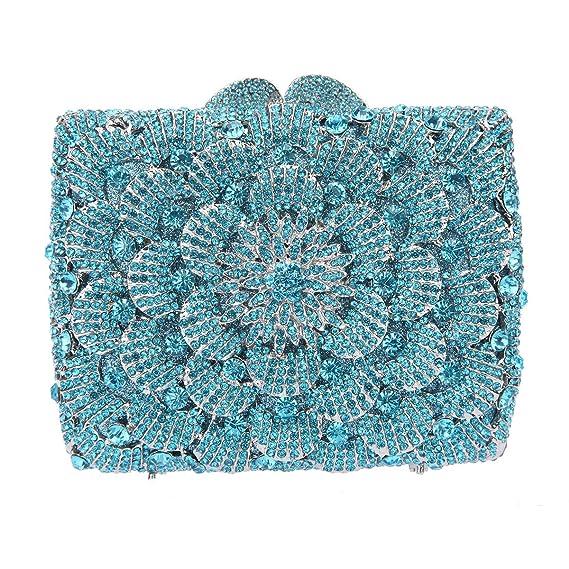 Bonjanvye Flower Clutch Handbags For Women Purses Bling Evening Bag Amarillo Ahumado: Amazon.es: Equipaje