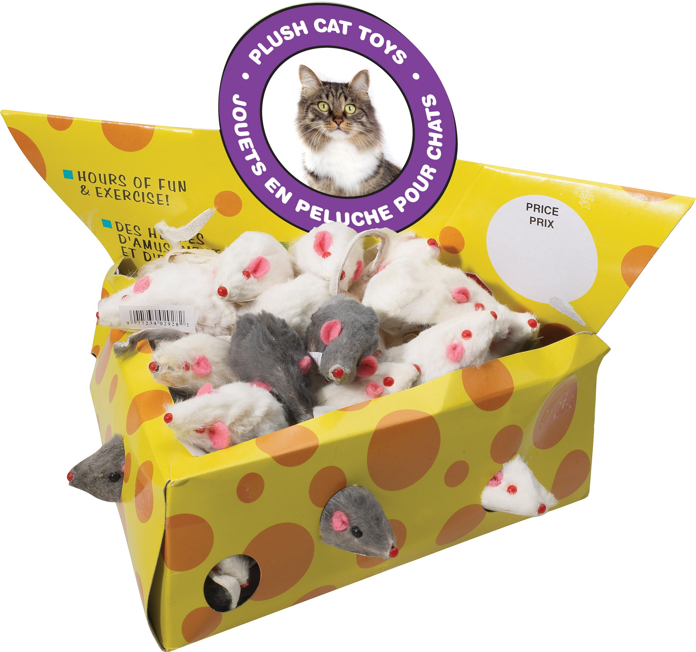 Ethical Pet Products (Spot) CSO2928BX 60-Pack Plush Mice Cheese Wedge Shape Cat Toy, 2-Inch