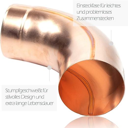 Kupfer Regenrohrbogen 60 mm mit 85 Grad konischer Ablaufbogen mit Einsteckfase Fallrohrbogen stumpfgeschwei/ßt DN 60