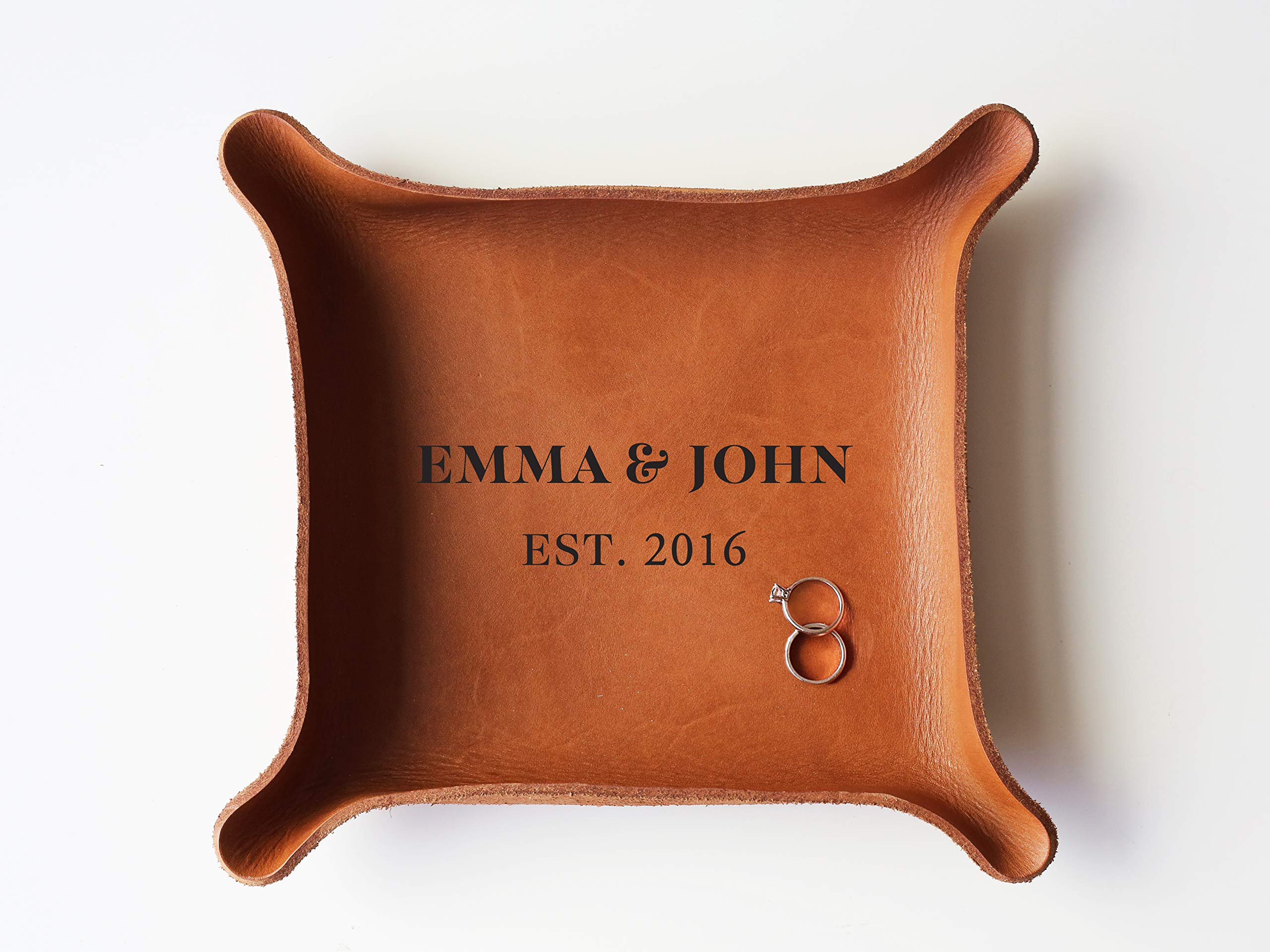 3rd Personalized Leather Tray with Initials & Wedding Year (Large Tray (7''x8''), Brown)