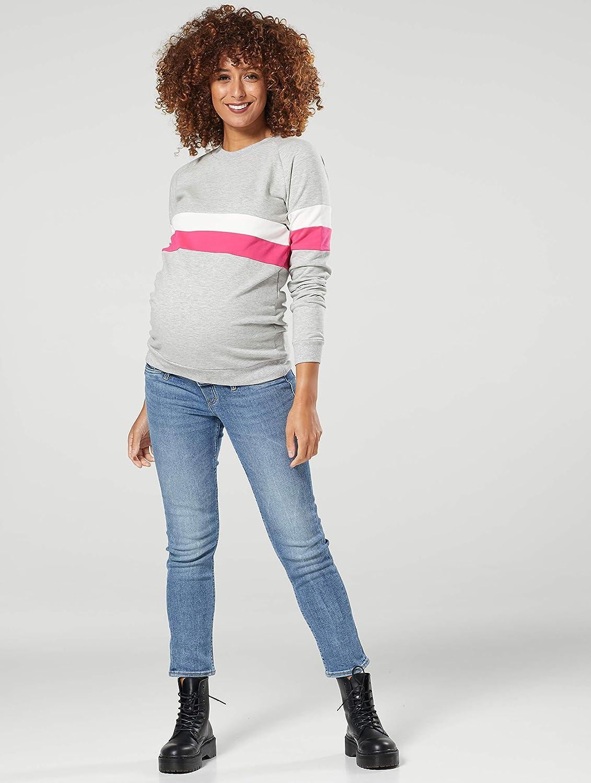 Chelsea Clark Damen Mutterschaft Reißverschluss Sweatshirt Gestreift Jumper 1110 Leichte Graue Veränderung