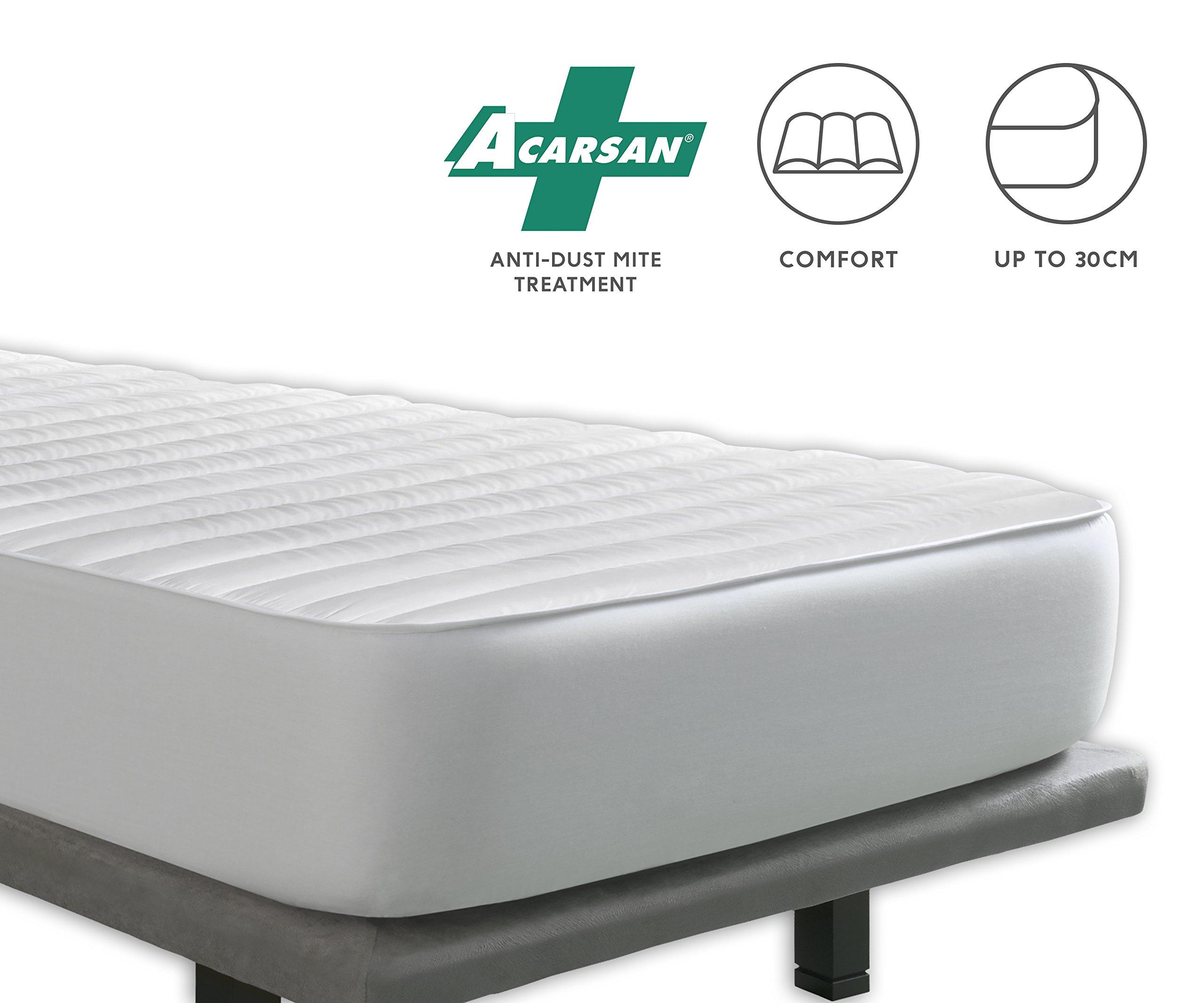 Tural – Cubrecolchón Antiácaros Reversible - Protector de colchón Acolchado. Talla 135x200cm product image