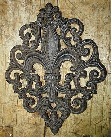 Amazon.com : Huge Cast Iron Fleur De Lis Plaque Finial Garden Sign ...