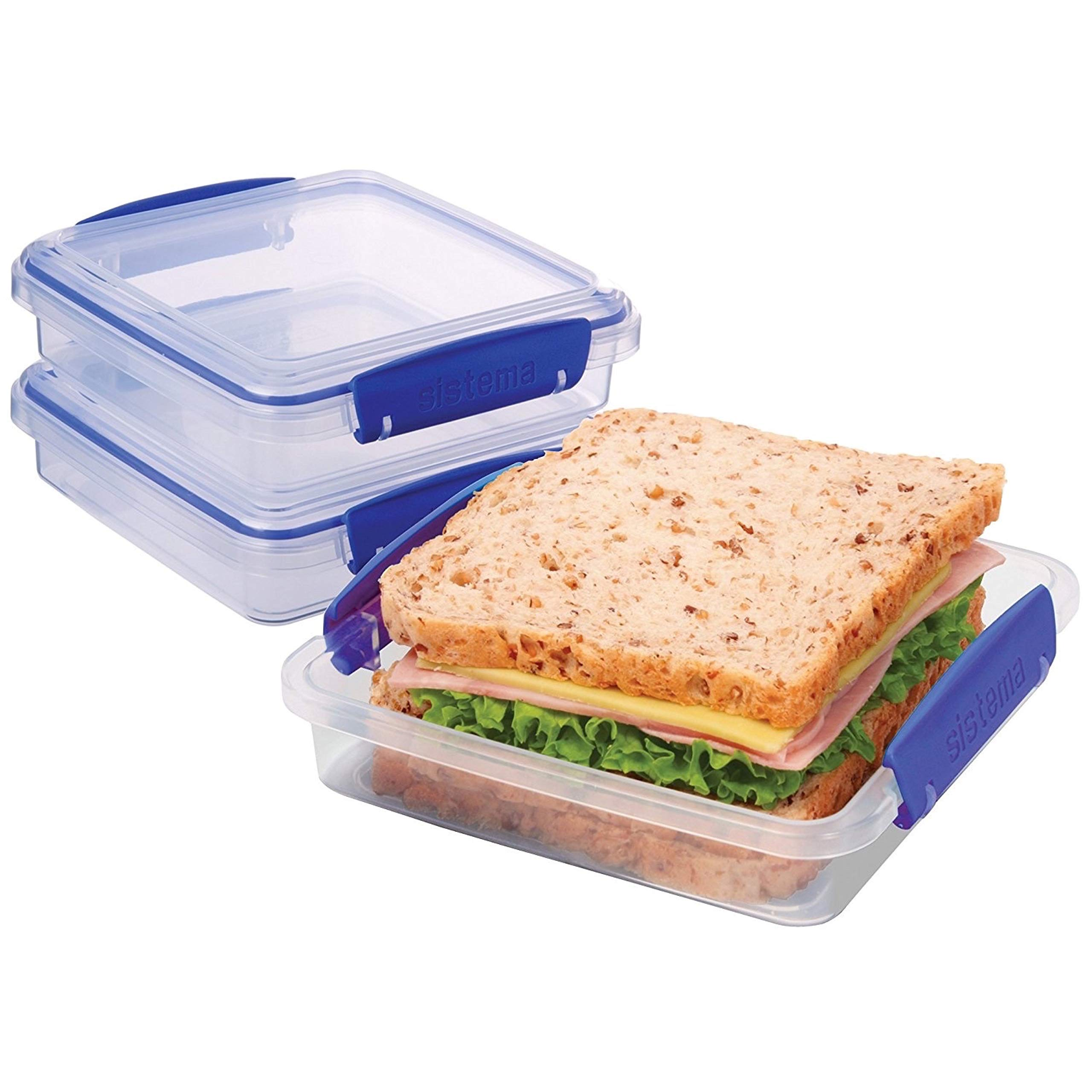 Sistema KLIP IT Collection Sandwich Box Food Storage Container, 15.2 oz./0.4 L, Clear/Blue, 3 Count by Sistema (Image #2)