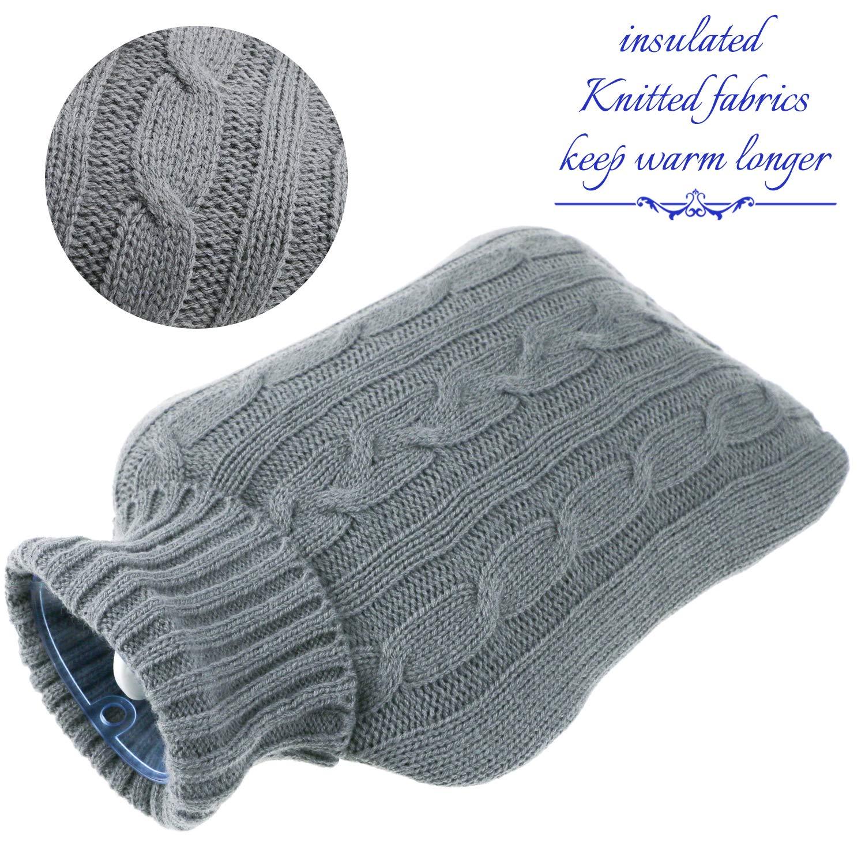 Funda de botella de tejido extra/íble y lavable Philonext Paquete de 2 botellas de agua caliente con fundas tejidas Alivio r/ápido del dolor y comodidad Blue