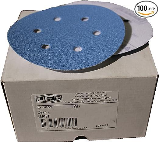 Inc M-132476 M-132476 6-Inch x 8 x Hole Vented HV No 100 Grit Ekablue Aluminum Oxide Paper Uneevel Hook and Loop Sanding Discs Uneeda Enterprizes
