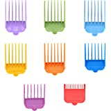 Professional Hair Clipper Guide Combs,Wahl guards Set,8 Color and Sizes Attachment Guide Comb,Great Fits for All Full Size Wahl Clippers/TrimmersGreat