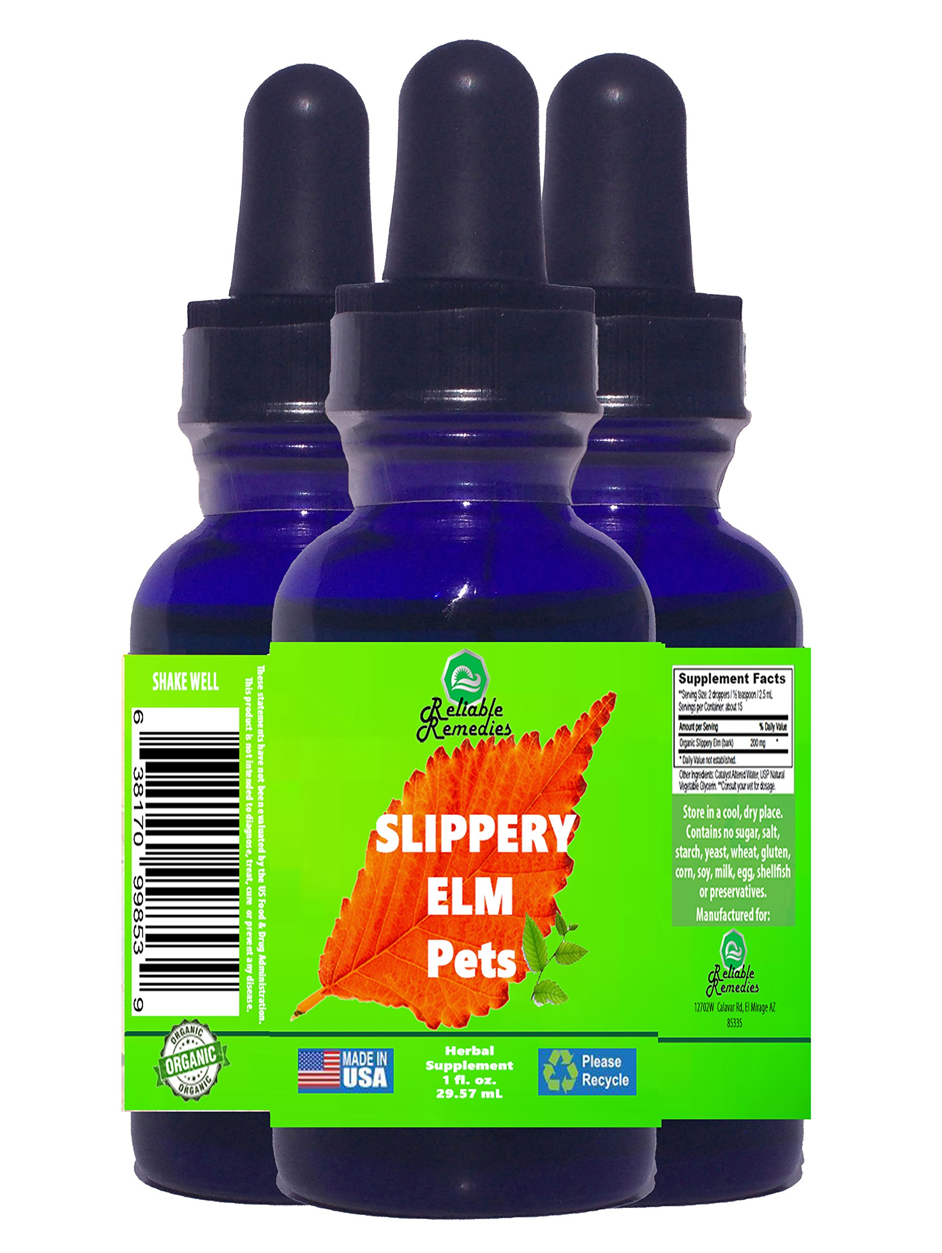 SLIPPERY ELM for PETS from ''RELIABLE REMEDIES'' - 1 Ounce - MADE IN AMERICA! - Protect Yourself! - 100% MONEY BACK GUARANTEE!**BUY THIS BEST SLIPPERY ELM BRAND NOW!