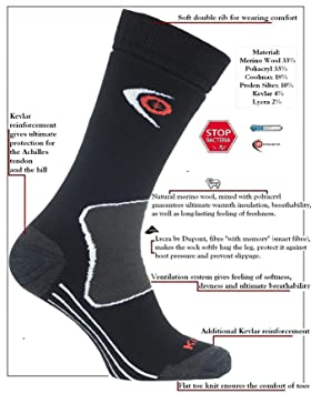 eXPANSIVE Trekking Proteger Calcetines Kevlar Negro [039/01] tamaño UK 2,5 - 5 (EUR 35 - 38) Lana Merino Coolmax: Amazon.es: Deportes y aire libre