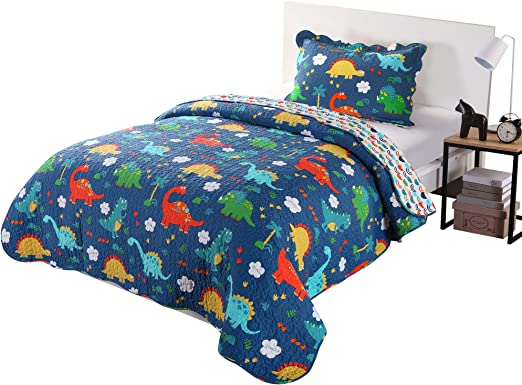 100/% Cotton Kids Bedspread Quilts Set for Teens Boys Girls Bedding Dinosaur