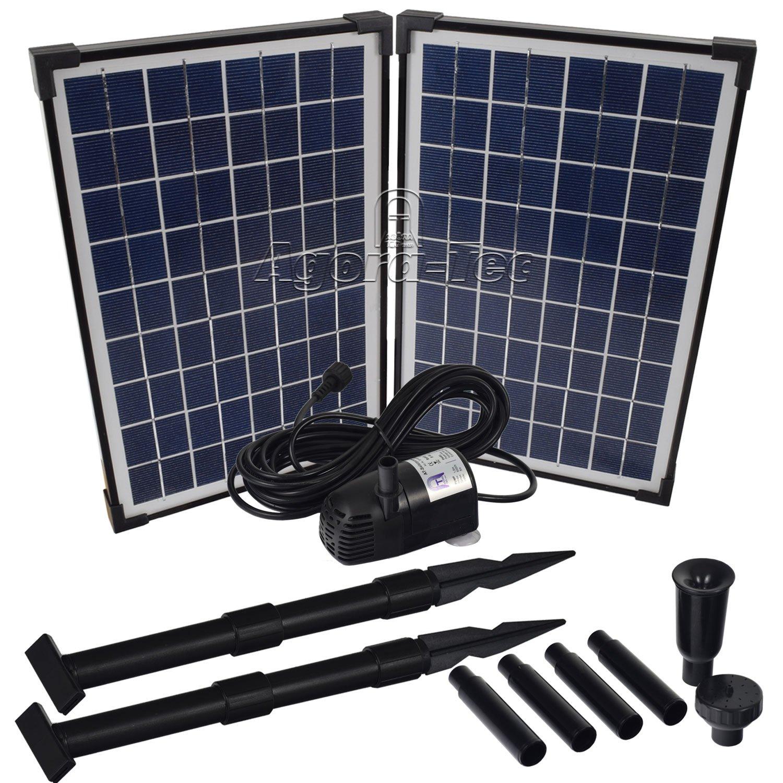 Agora-Tec Pompe solaire pour étang ou fontaine 20 WDébit max. 1360l/h Hauteur fontaine 2,10m