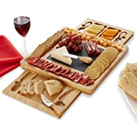 Casafield Organic Bamboo Cheese Board and Knife Gift Set with Removable Slate Cheese Plate - Charcuterie Platter Wooden…