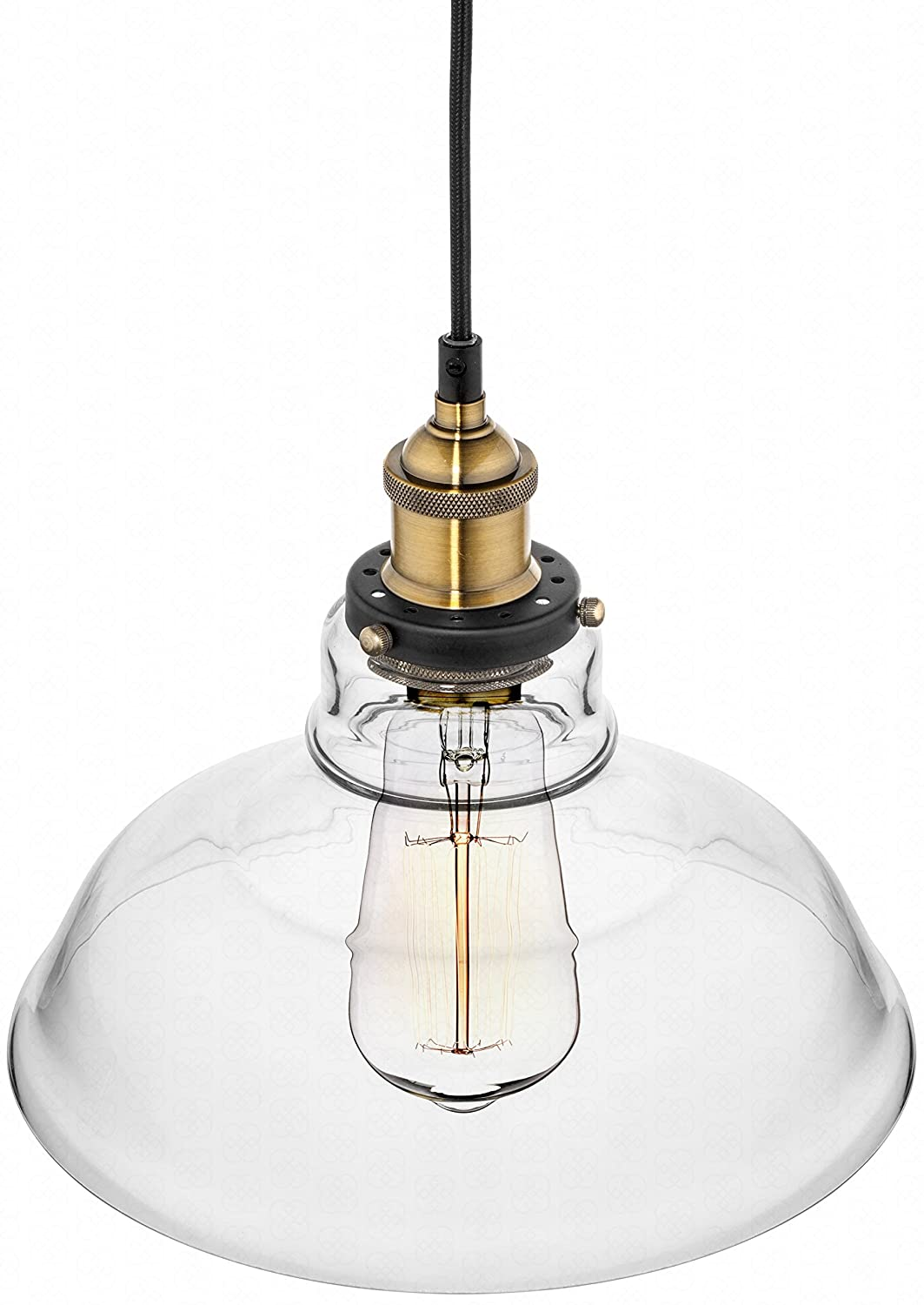 Farmhouse Clear Glass Shade Ceiling Pendant Lighting, Kitchen Chandelier  Style With Brass Fixture By Deneve     Amazon.com