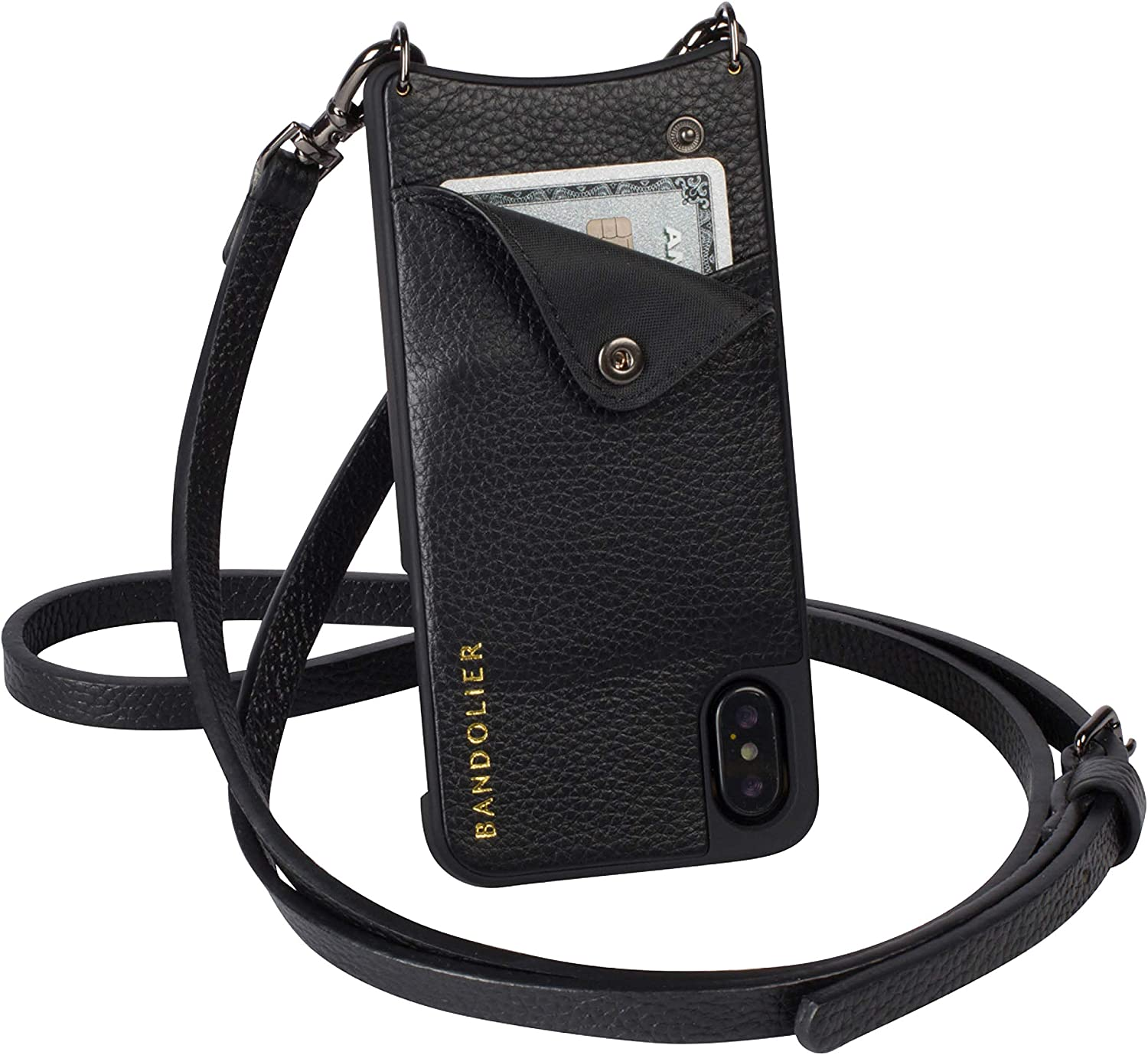 Bandolier Emma Crossbody Phone Case and Wallet - Black Leather with Pewter Detail - Compatible with iPhone Xs Max Only