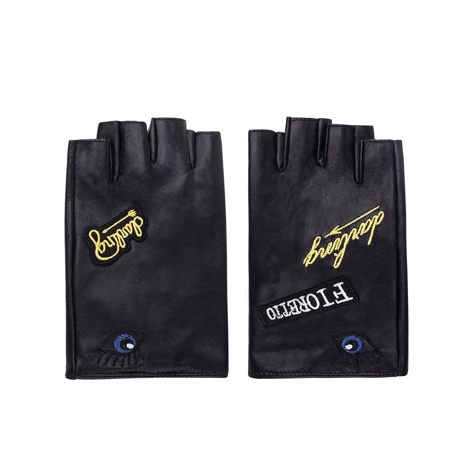 Fioretto 2018 New Arrivals Womens Sexy Driving Fingerless Leather Gloves Half Finger Driving Motorcycle Cycling Unlined Ladies Leather Gloves Women's Gift Black 7