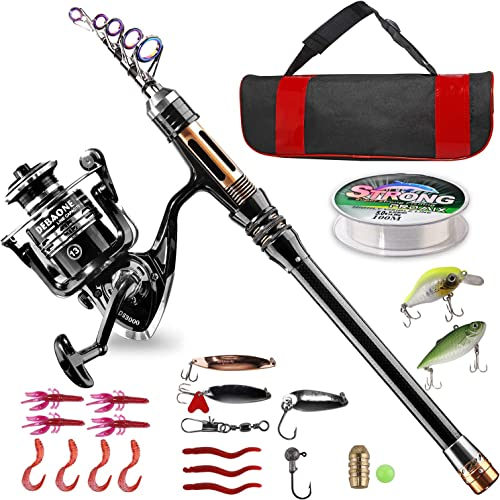 BlueFire Fishing Rod Kit, Carbon Fiber Telescopic Fishing Pole and Reel Combo with Spinning Reel, Line, Lure, Hooks and Carrier Bag, Fishing Gear Set for Beginner Adults Kids Saltwater Freshwater