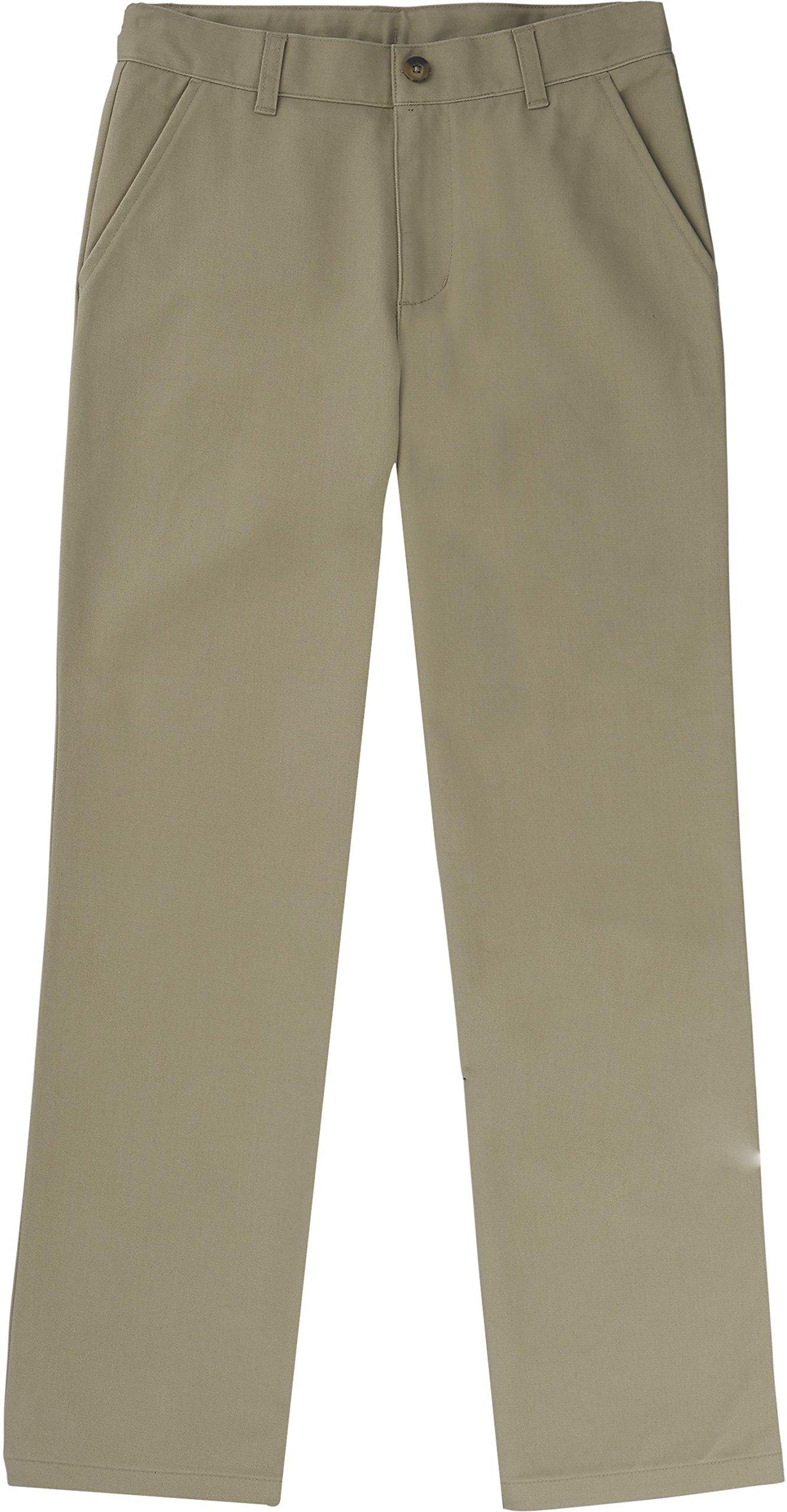 French Toast School Uniform Boys Straight Leg Twill Pants, Khaki, 18 Husky
