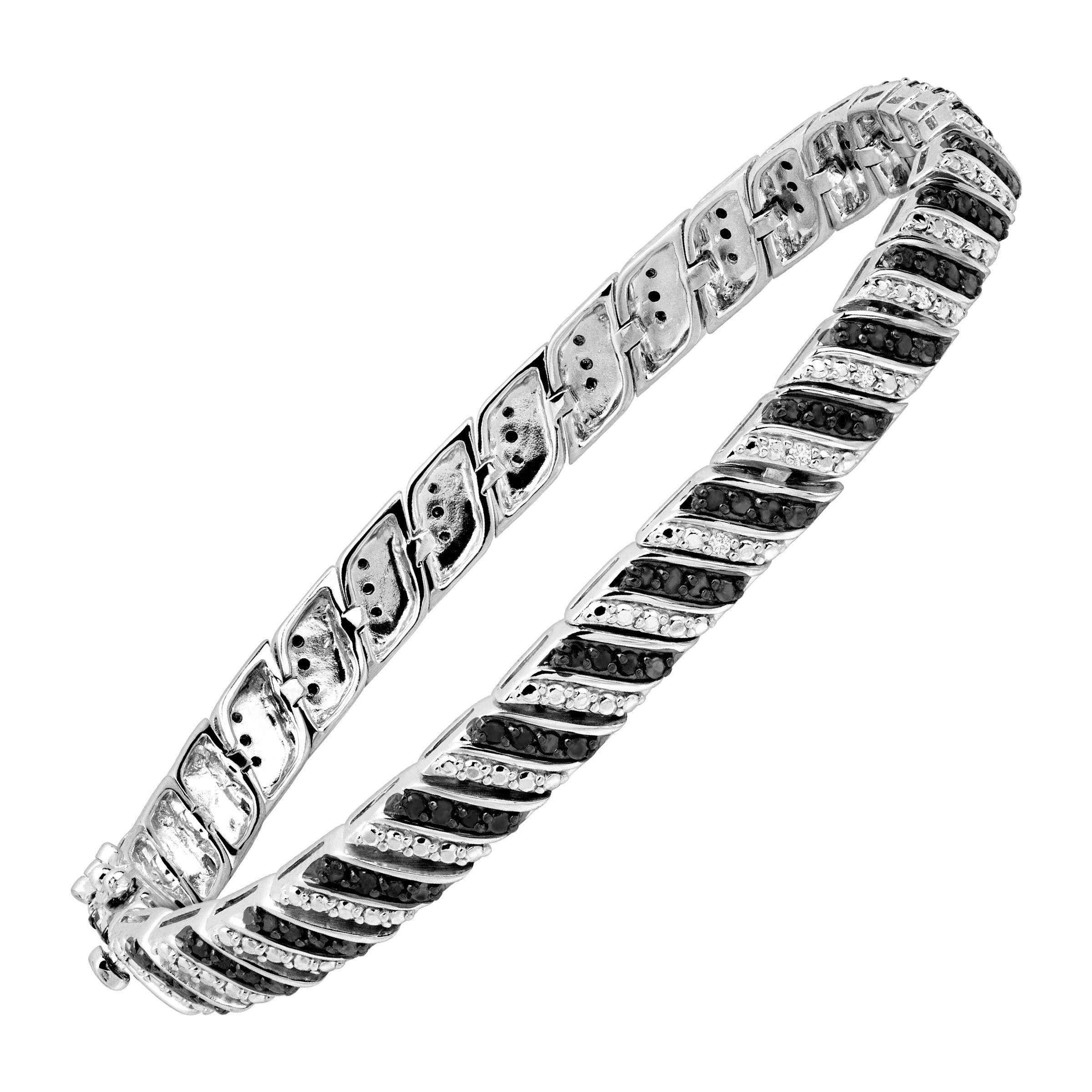 1 ct Black & White Diamond Tennis Bracelet in Sterling Silver by Finecraft