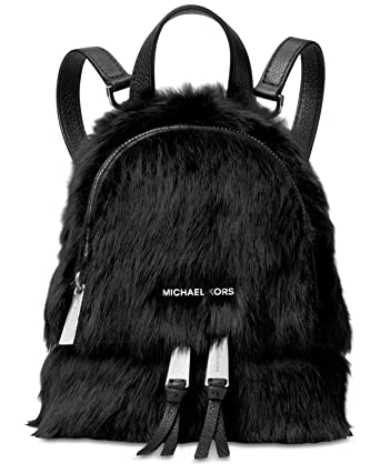 1f7a8382a3dc Amazon.com  MICHAEL Michael Kors Womens Shearling Leather trim Backpack  Black Small  Clothing