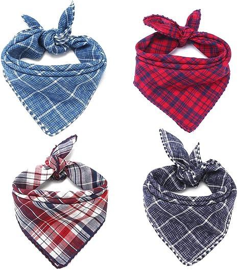 Blue and Plaid Dog Fabric Bandana-Charitable Personalized Reversible Bandana-Custom Dog Bandana-Dog Bandana-Scarf-Dog Fabric
