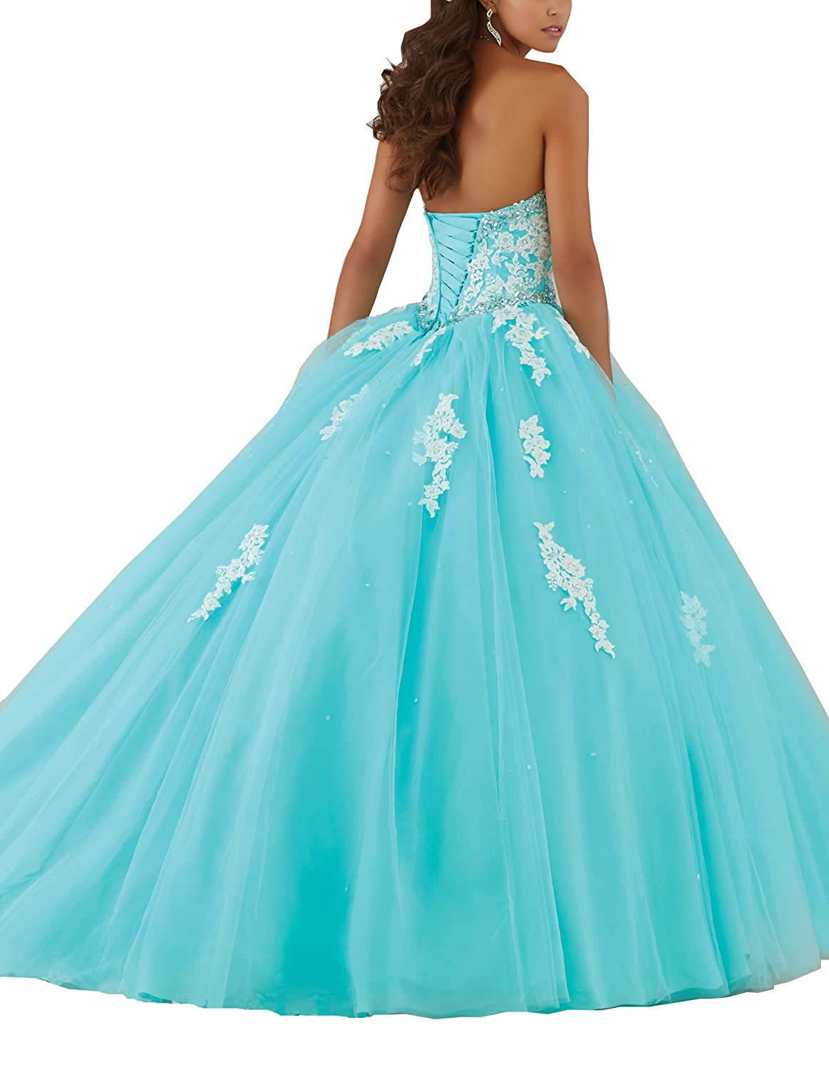 Amazon.com: YinWen Womens Sweetheart Strapless Lace Beaded Formal Prom Quinceanera Dress: Clothing