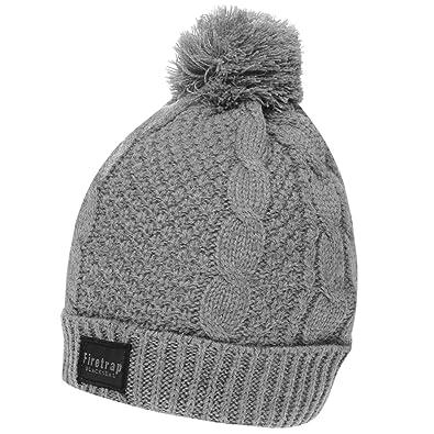 71a39f2615b Firetrap Mens Cable Hat Bobble  Amazon.co.uk  Shoes   Bags