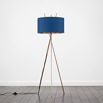 Modern Crossover Design Tripod Floor Lamp in a Copper Finish with a Navy BlueGold Shade Complete with a 10w LED GLS Bulb [3000K Warm White]