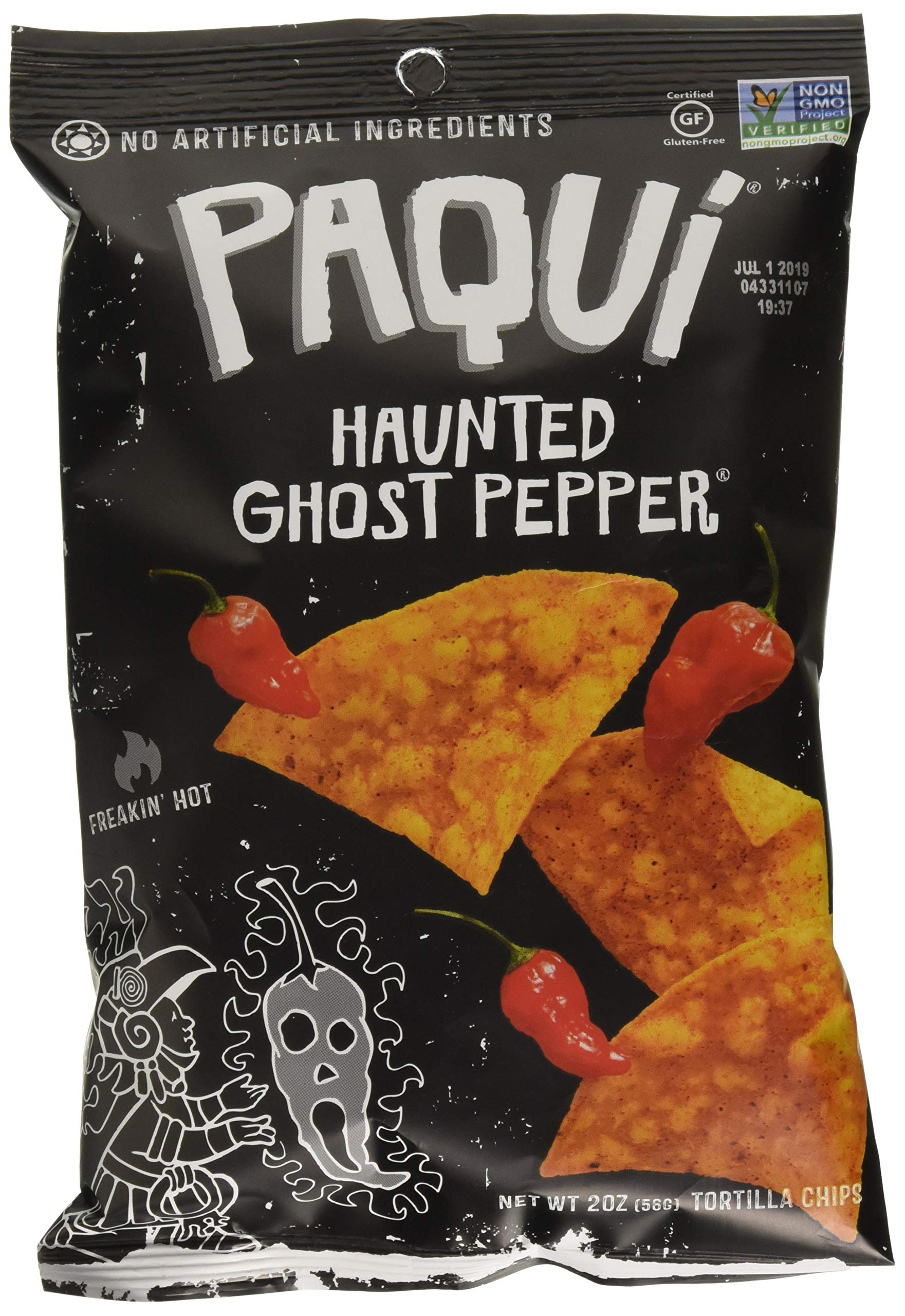 Paqui Tortilla Chips, Gluten Free Snacks, Haunted Ghost Pepper, 2oz (Pack of 6)