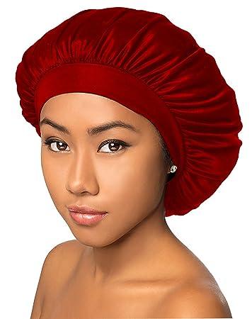 Amazon.com   BT Luxury Wide Band Mesh Satin Bonnet Cap Red   Shower Caps    Beauty 4f70b96cba6