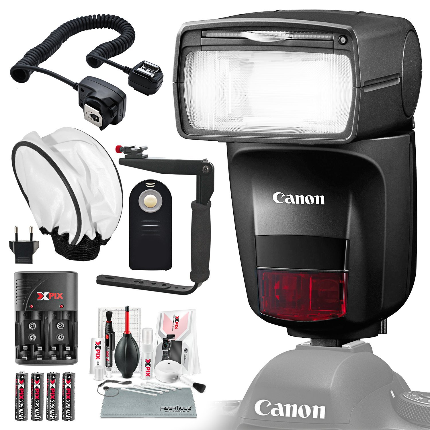 Canon Speedlite 470EX-AI Flash with Diffuser, Batteries & Charger Kit, Xpix Cleaning Accessories, and Basic Photo Bundle