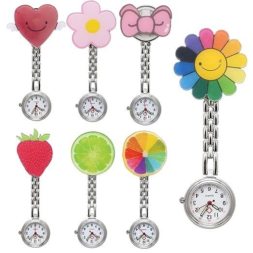 jsdde Relojes 7 x Enfermeras Fob de Dibujos Animados Flores Frutas Hermana Cuidado Reloj Mujer Reloj DE Bolsillo Reloj de Cuarzo Relojes Set: Amazon.es: ...