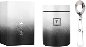 IRON °FLASK Food Jar - 16 Oz, Foldable Spoon, Leak Proof, Vacuum Insulated Thermos, Stainless Steel, Simple Storage Lunch, Modern Container, Hydro Metal Canteen, Double Walled, Portable Food Bowl