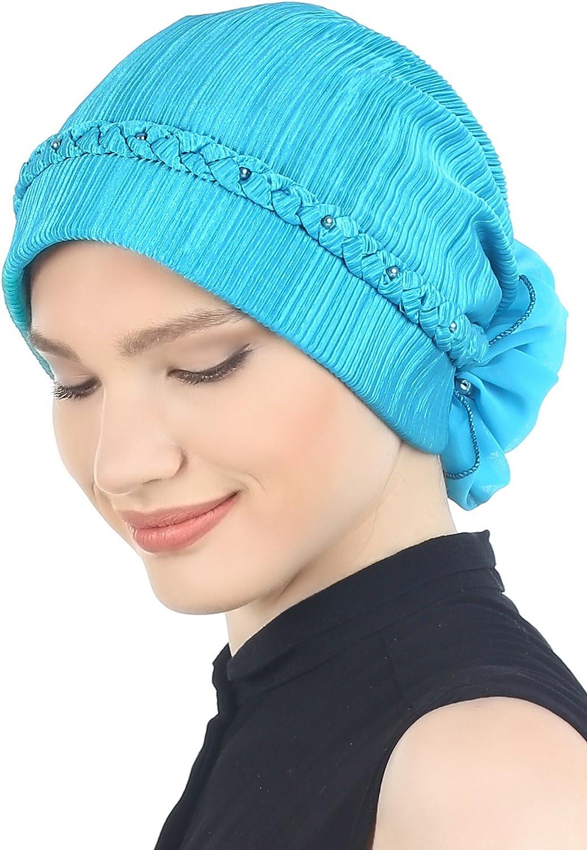 Turban f/ür Haarverlust Deresina Geflochtener /& Perlenbesetzter Hut Cancer Chemo