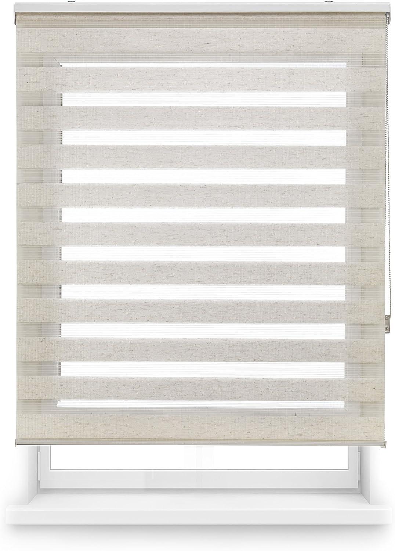 Blindecor Lira Estor enrollable de doble capa, Noche y Día, Poliéster, Lino Crema, 140 x 180 cm