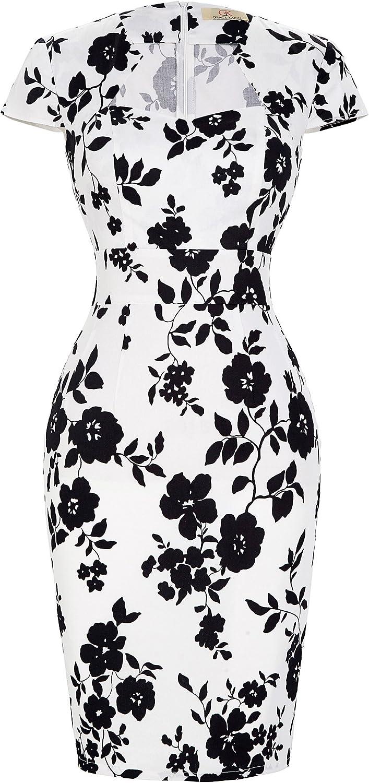 TALLA XXXL . Belle Poque Vestido Retro para Mujer cóctel XXX-Large Floral-10 (CL7597) Floral-10(cl7597) XXXL