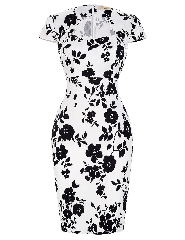 TALLA M. GRACE KARIN Mujeres Vintage Lápiz Vestido de Manga Corta Bodycon 1950 s 39 Colores XS ~ XXXL 7597 Floral(cl7597-14)
