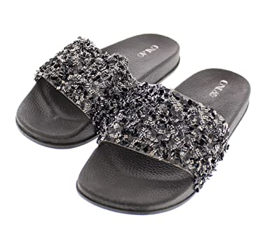 f04325318 Sanaa Womens Sparkle Slide Sandals Slip On